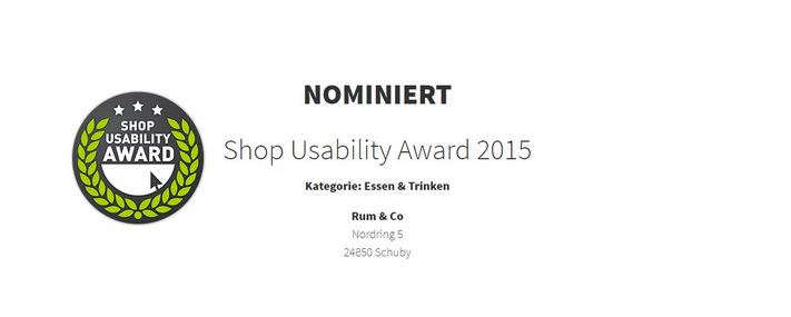 Shop Usability Award 2015 Nominierung