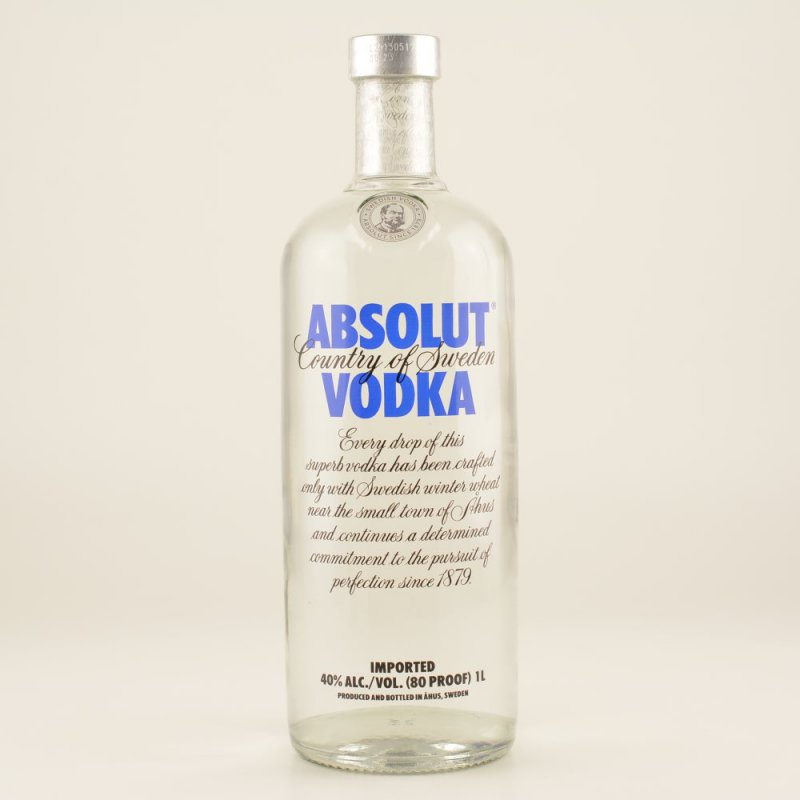 absolut vodka blue 40 1 0l 18 50. Black Bedroom Furniture Sets. Home Design Ideas