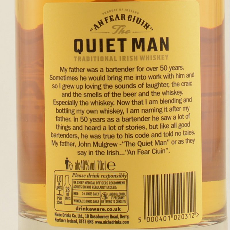 The Quiet Man Blended Irish Whisky 40% 0,7l