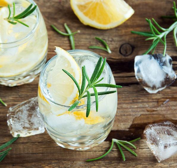 Gin Tonic Cocktail mit Zitronen und Rosmarin