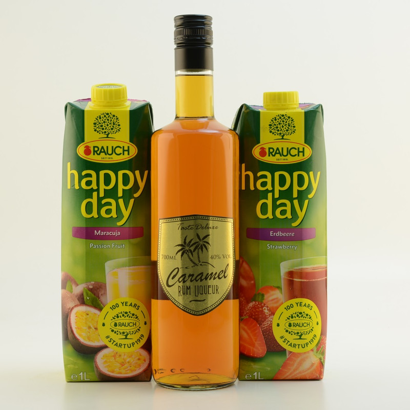 Taste DeLuxe Caramel Rumlikör 40% 0,7l - Cocktail-Set Strawberry Colada