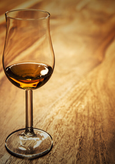 Nosing glass with scotch single malt whisky