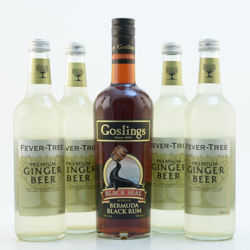 Goslings Black Seal Dark Rum & Fever Tree Ginger Beer Set