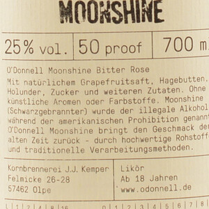 O'Donnell Original Moonshine Bitter Rose 25% 0,7l