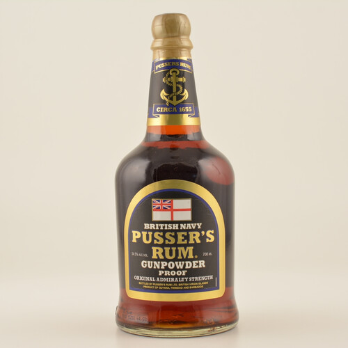 Pussers British Navy Rum Black Label Gunpowder Proof 54,5% 0,7l + Tasse
